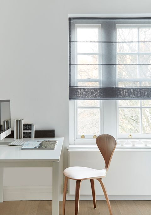Office room-set with a Serene Grey Voile Roman blind
