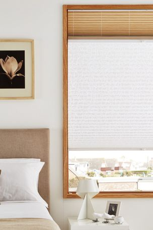 Grenoble Mimosa Day & Night Transition Pleated blind in bedroom