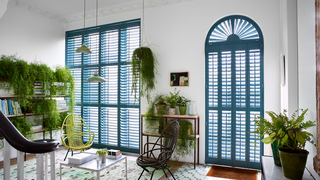 Bright blue shaped shutters in hall