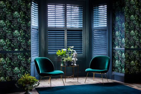 Green custom colour shutters in a living room
