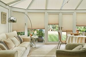Elba Bisque Conservatory side blinds and Montoya Umber Conservatory roof blinds in conservatory
