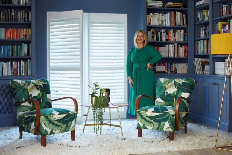 Erica davies livingroom doors decorated with full height white shutters