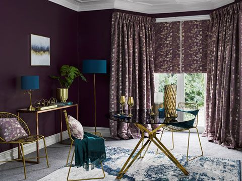 Stylish Lavender curtains and Romans in living room