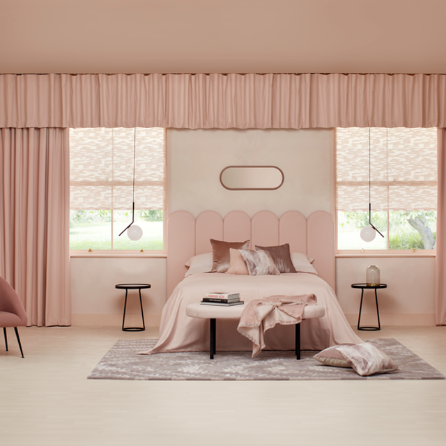 Motto Powder Blush Roller and Tetbury Blush curtain in bedroom