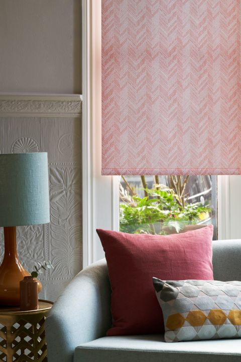 Close up detail of pink chevron print Roller blind