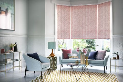 Living room bay window with chevron print Roller blind