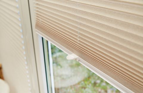Cream pleated conservatory blinds