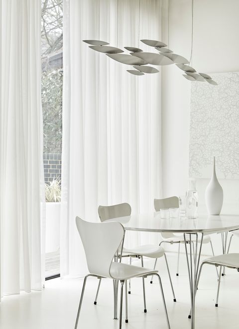 Clean White Dining Area with Astro White Voile Curtains
