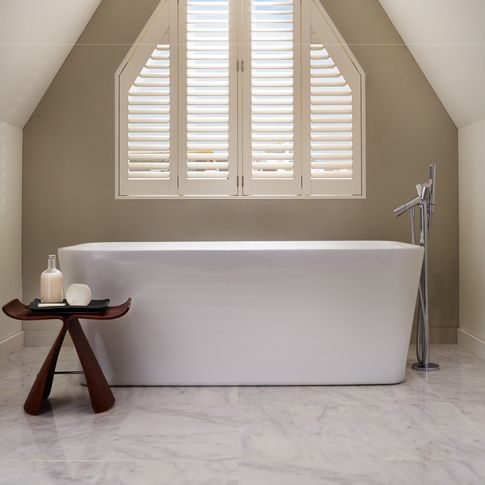 Warwick Traditional Silk White Shutters in bathroom