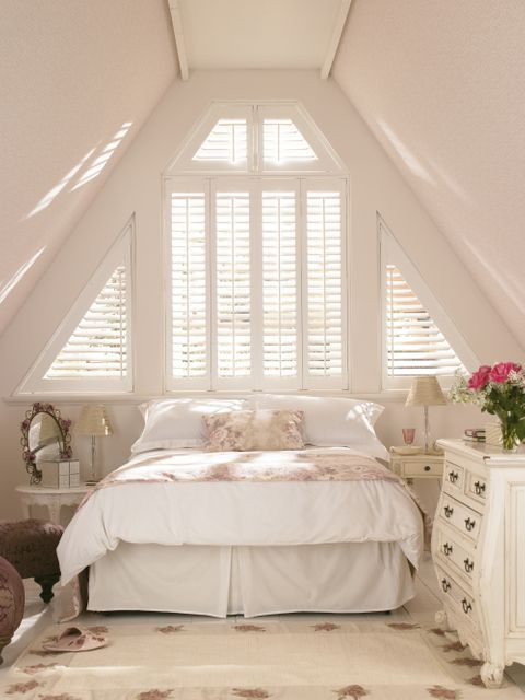 Warwick Traditional Silk White Shutters in attic bedroom