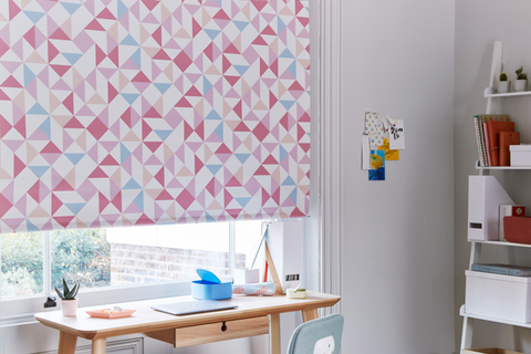 Home office with pastel geometric print Roller blind