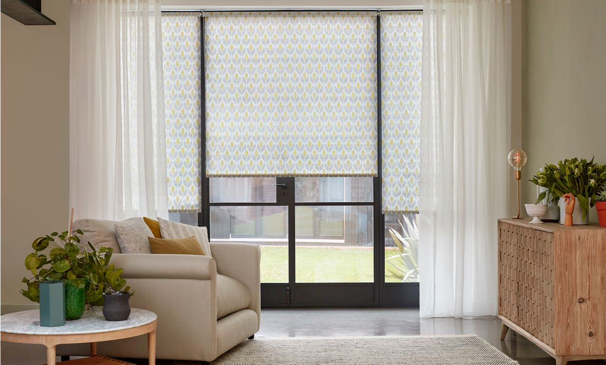 Petula Olive Roller blind in French door
