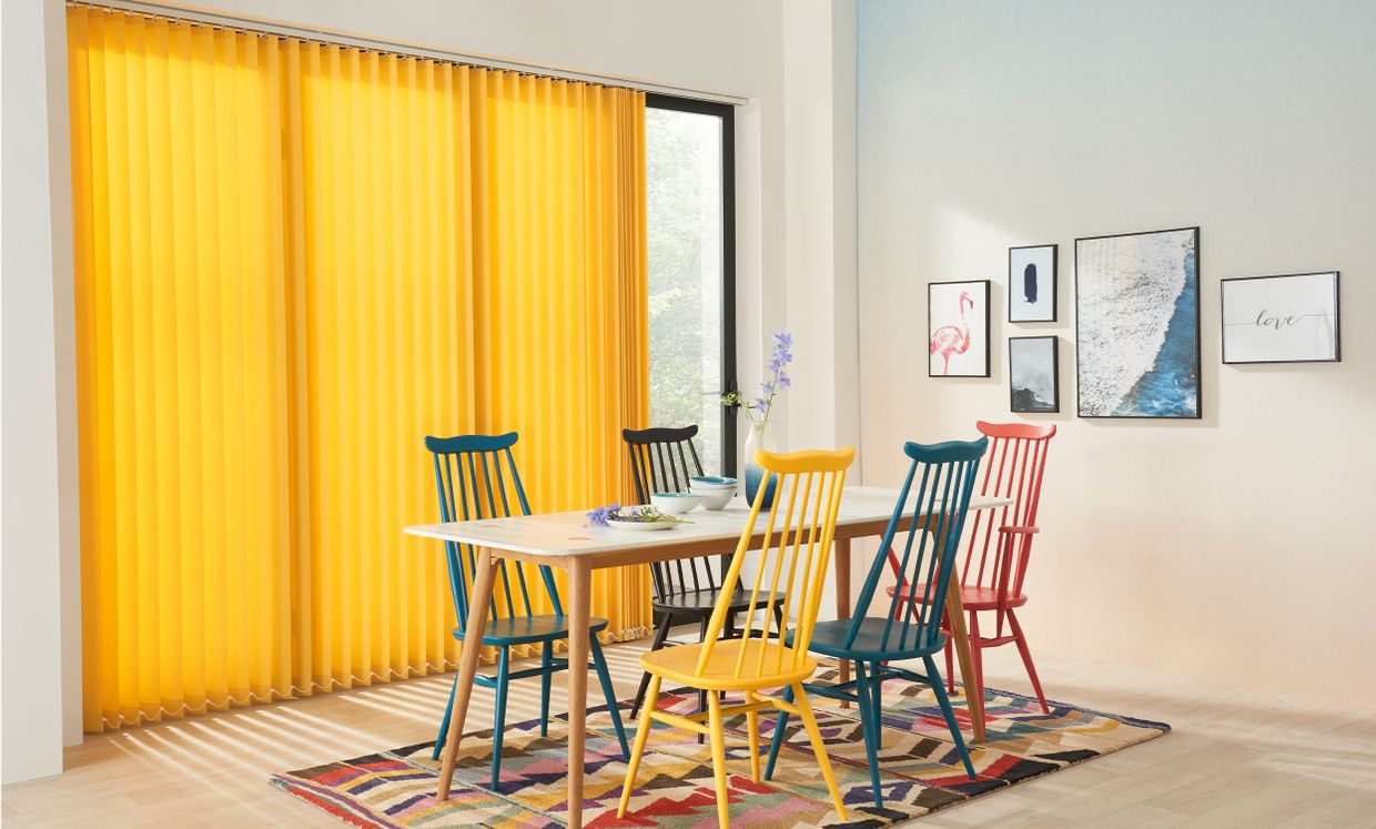 Acacia Yellow Vertical blinds in dining room