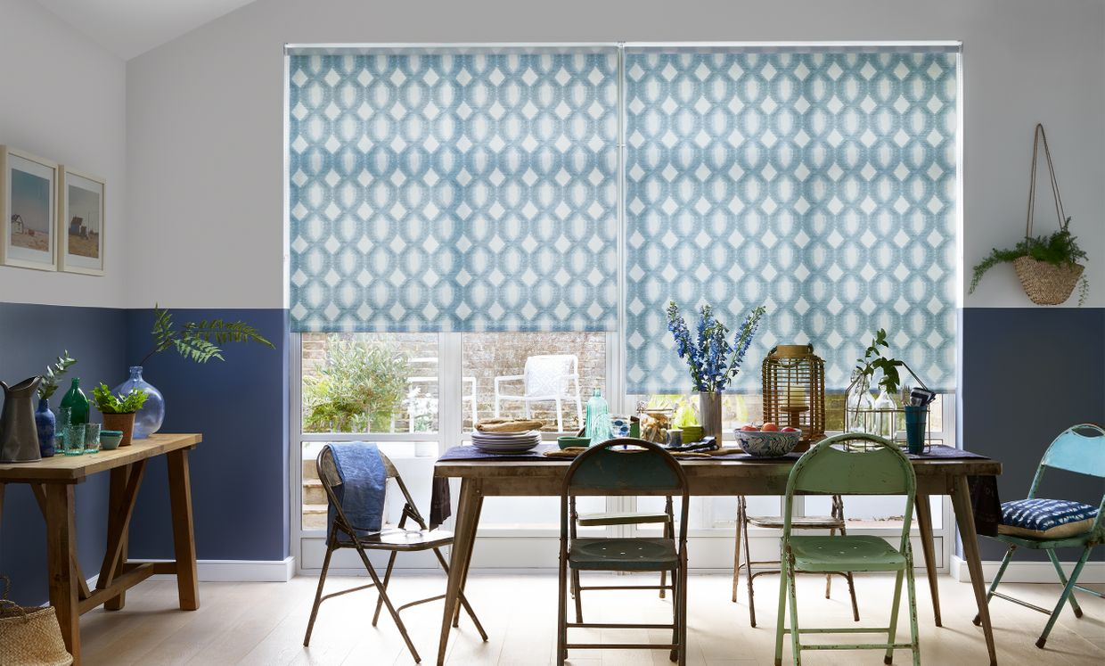 Brindle Denim Roller blind in dining room