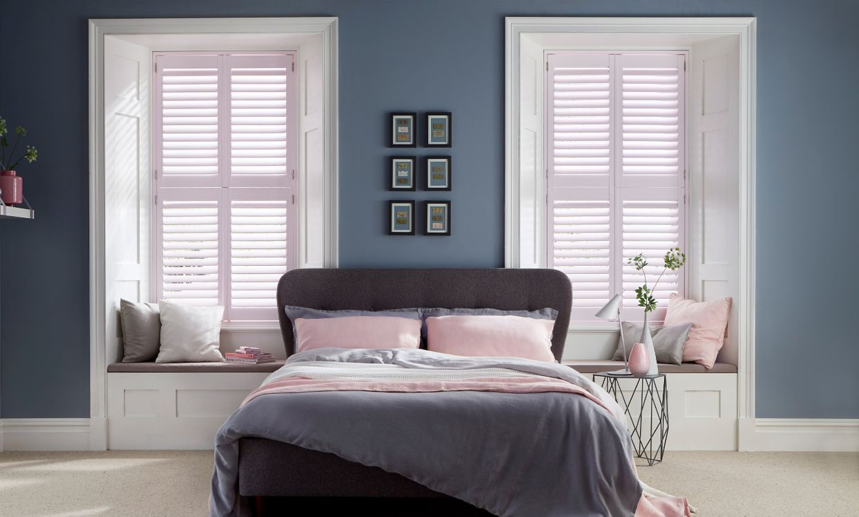 Tier-on-Tier Chalk Pink Shutters in bedroom
