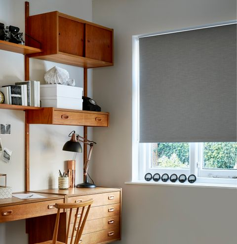 Larsen Charcoal Blackout Roller blind in home office
