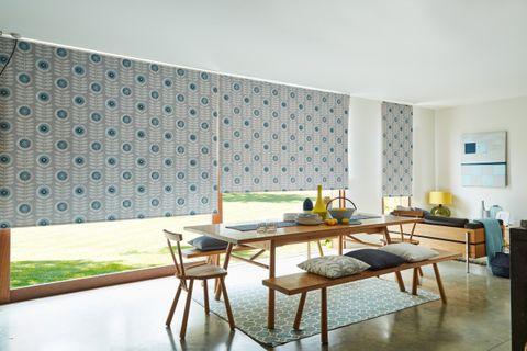 Neisha Teal Blackout Roller blind in dining room