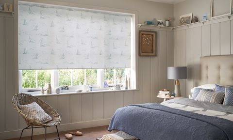 Boats Navy Roller blind in bedroom