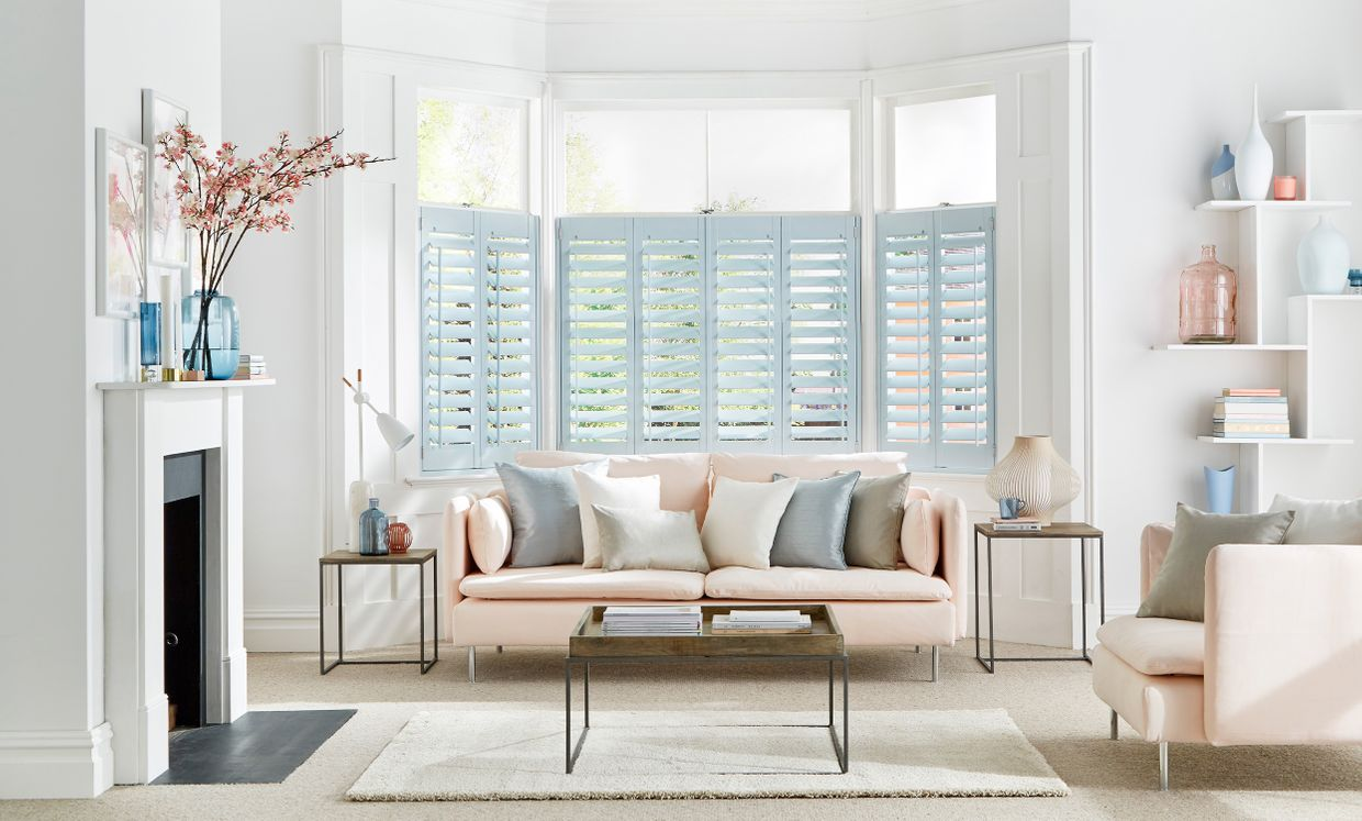 Cloud Blue shutters in living room