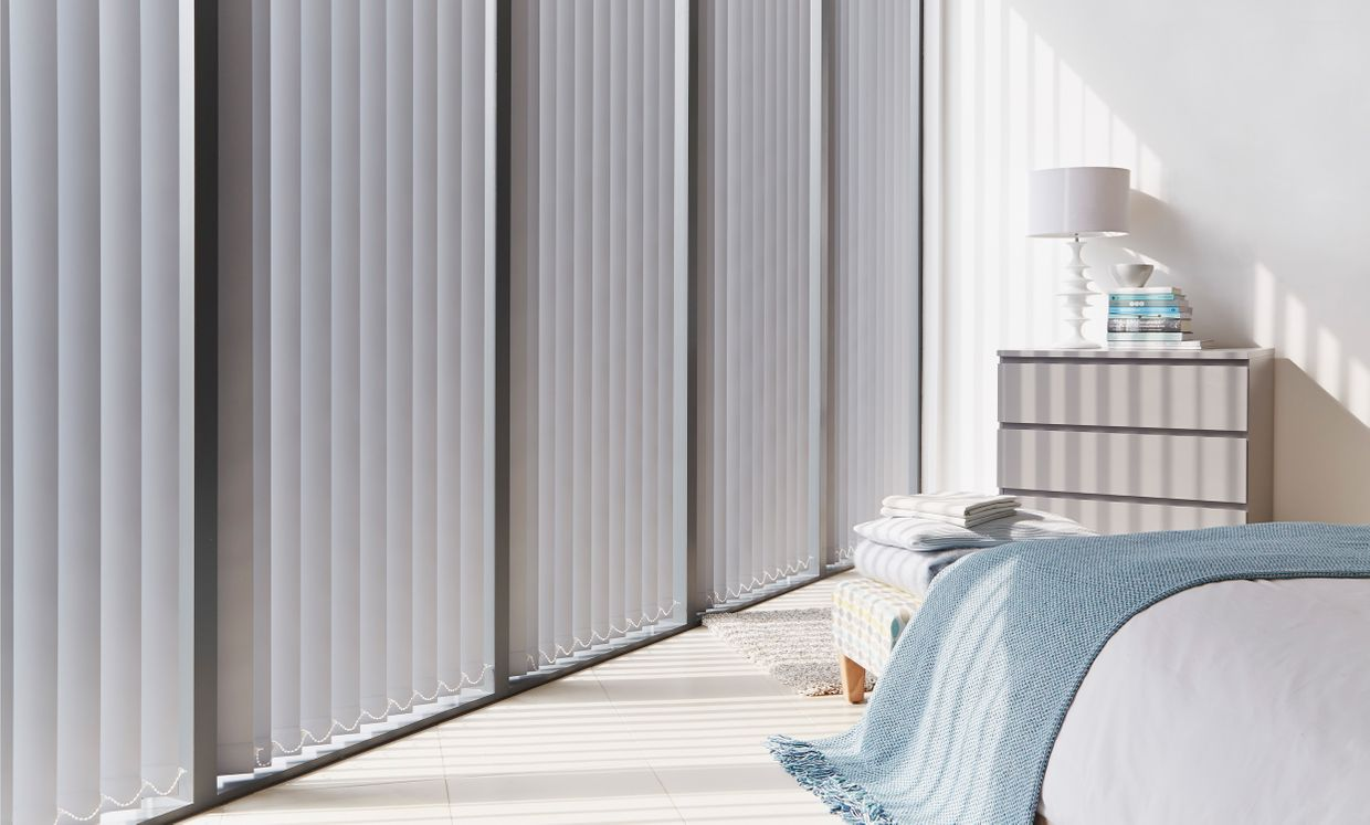 Cordova Grey Vertical blind in bedroom