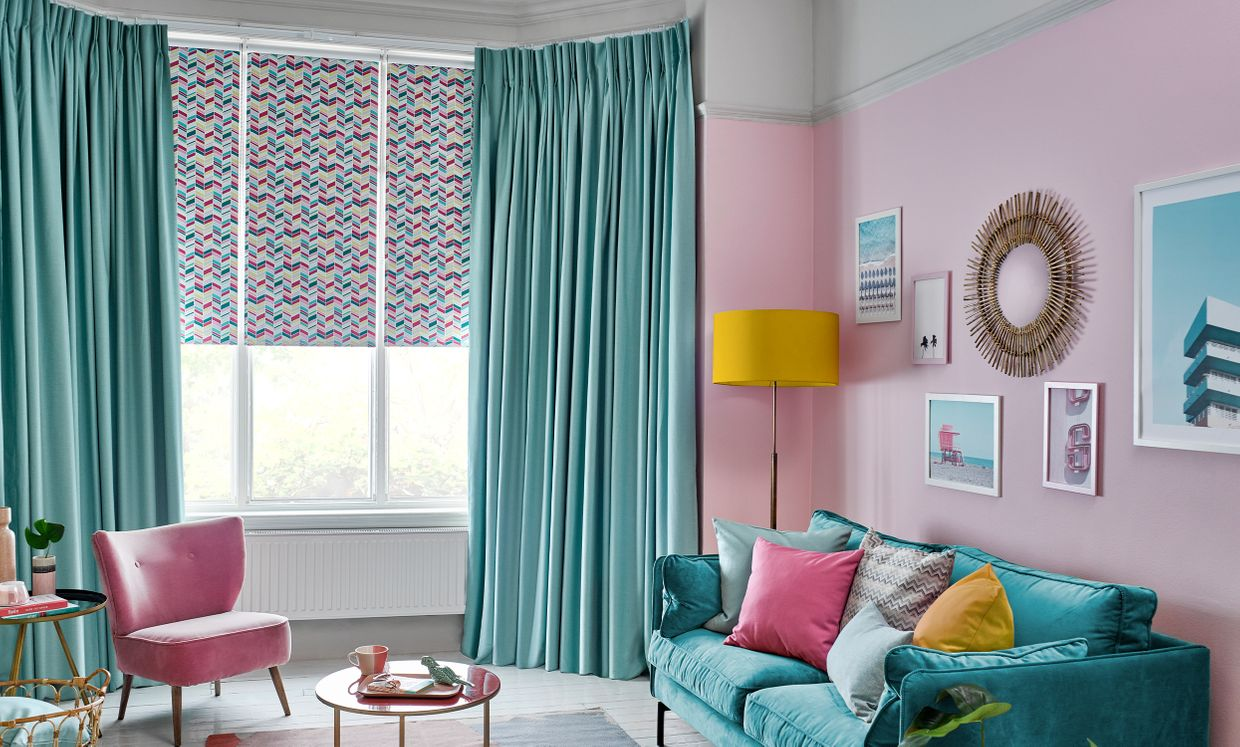 Jazz Fuschia Roller Blinds and Harlow Turquoise Curtain in living room