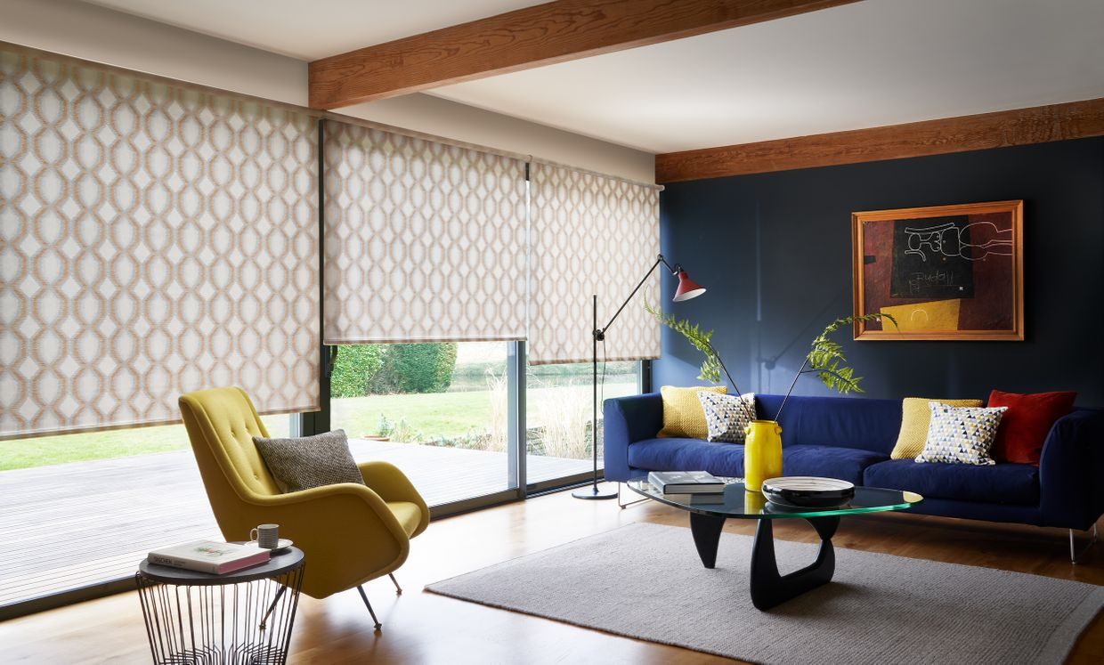 Brindle Spice Roller blinds in living room