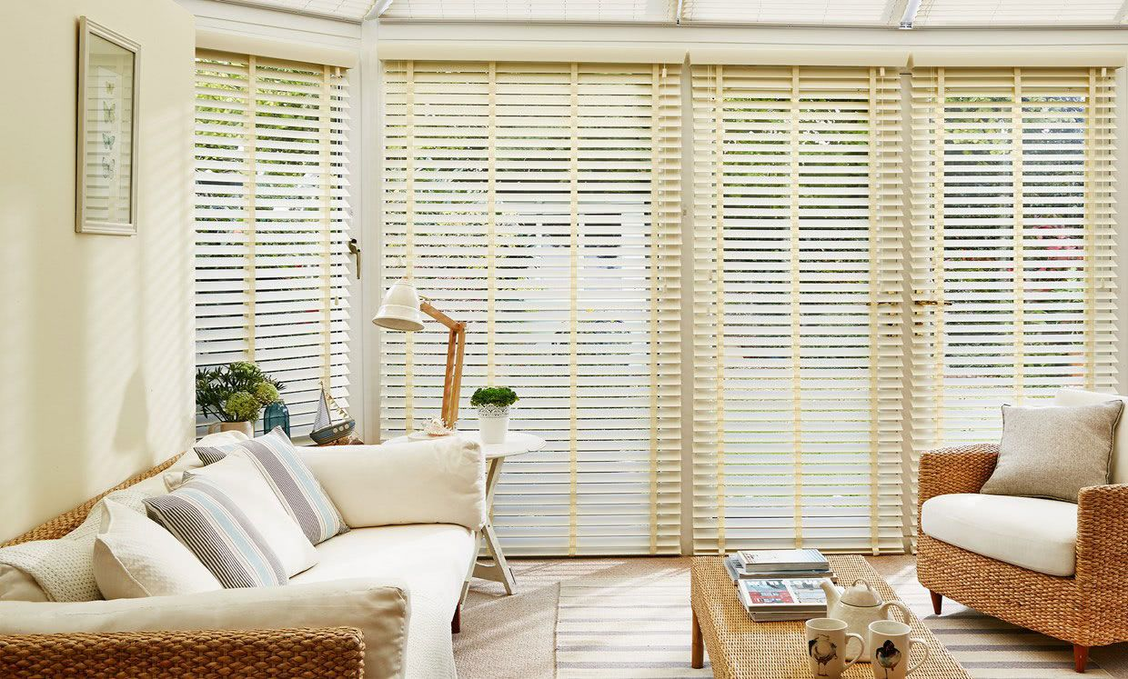Soft Ivory Wooden blinds in conservatory room