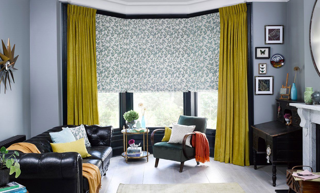 Delizia Teal Roller blind with Lyon Sulphur curtain in living room