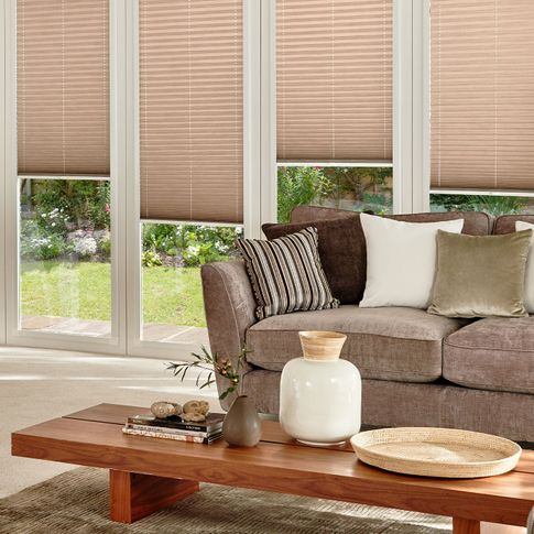 Grenoble Taupe Specialist Pleated blinds in conservatory room