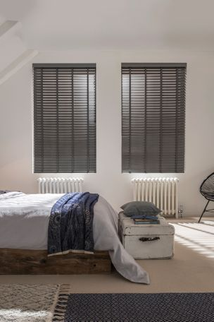 Lunaire wooden blinds in bedroom
