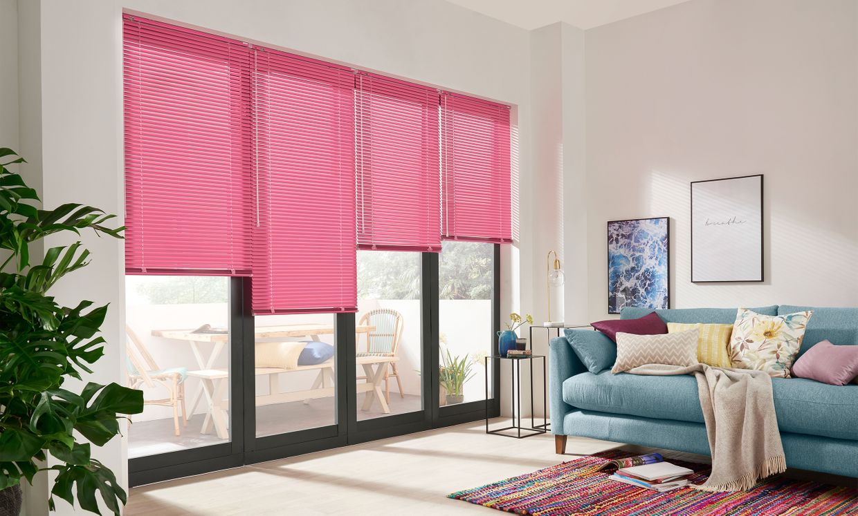 Riviera Fuschia Venetian blinds in living room