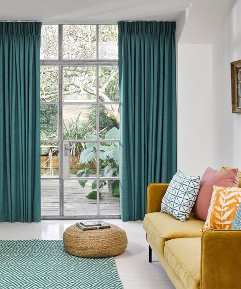 Clarence Teal curtains in living room
