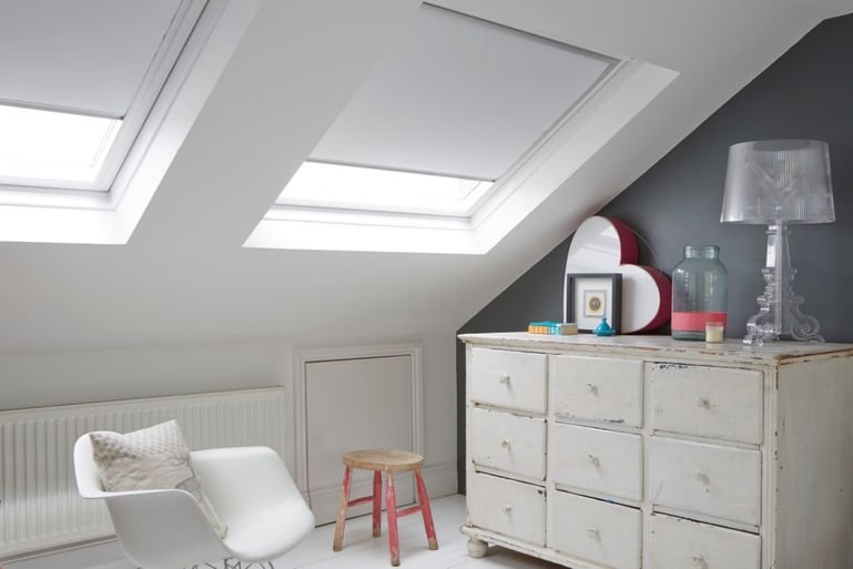 loft bedroom with white blackout velux blind