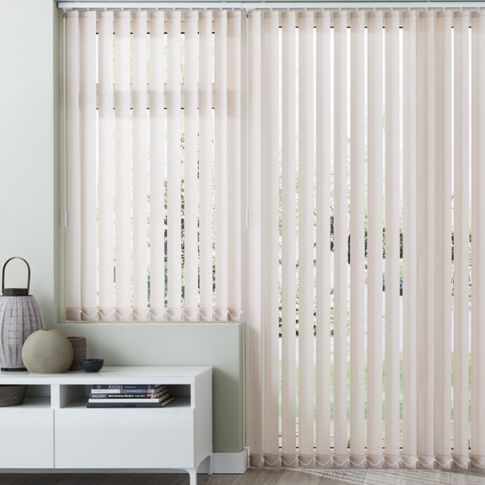 Living room with pattie natural vertical blinds