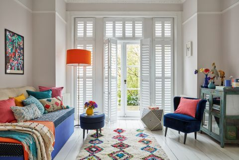 Detail shot of living room with open shutters