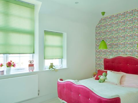 Bedroom with mint green Pleated blinds