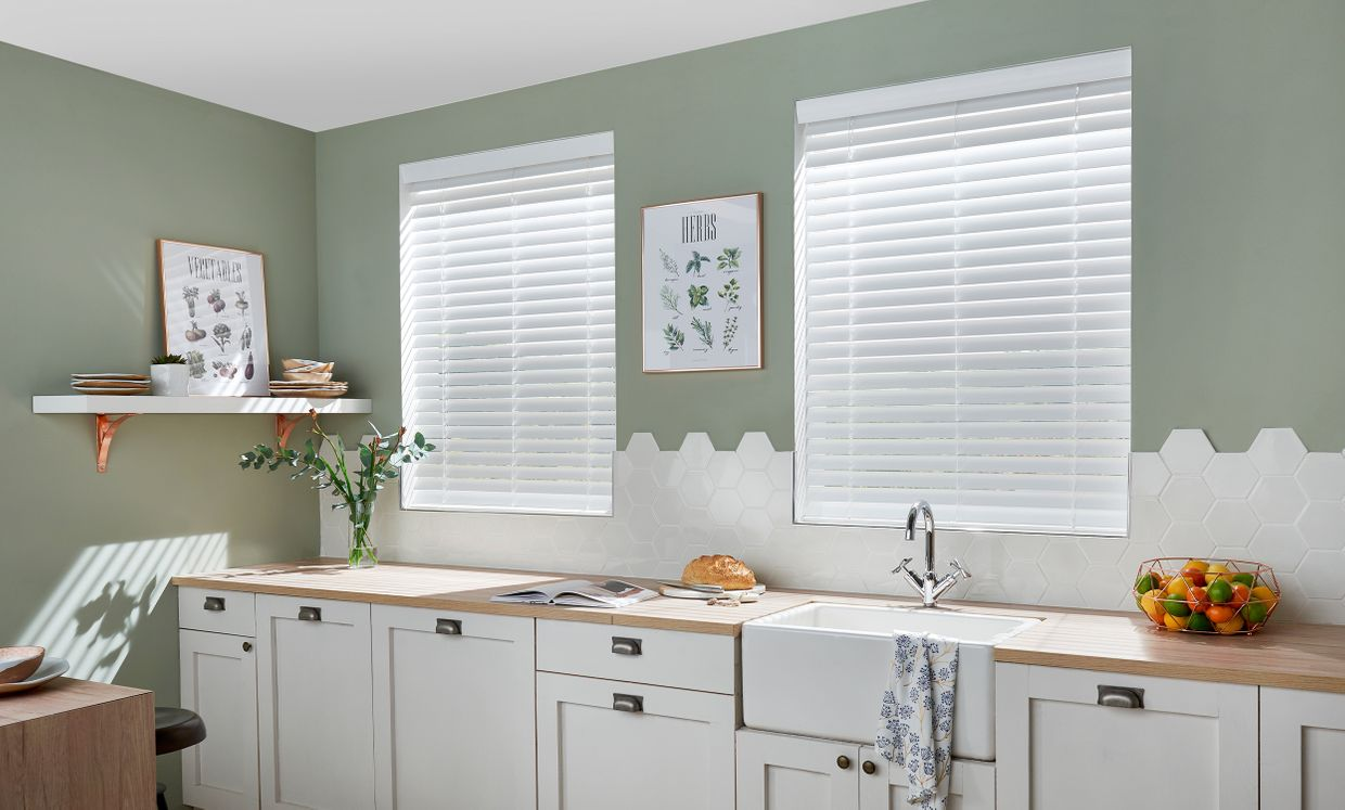 Fine White wooden blinds in kitchen