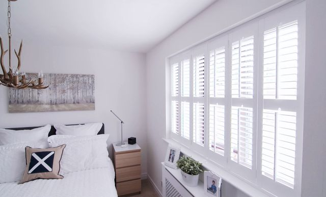Pure White shutters in bedroom