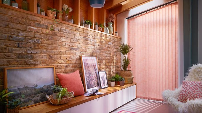 modern orange vertical blinds in a patio window