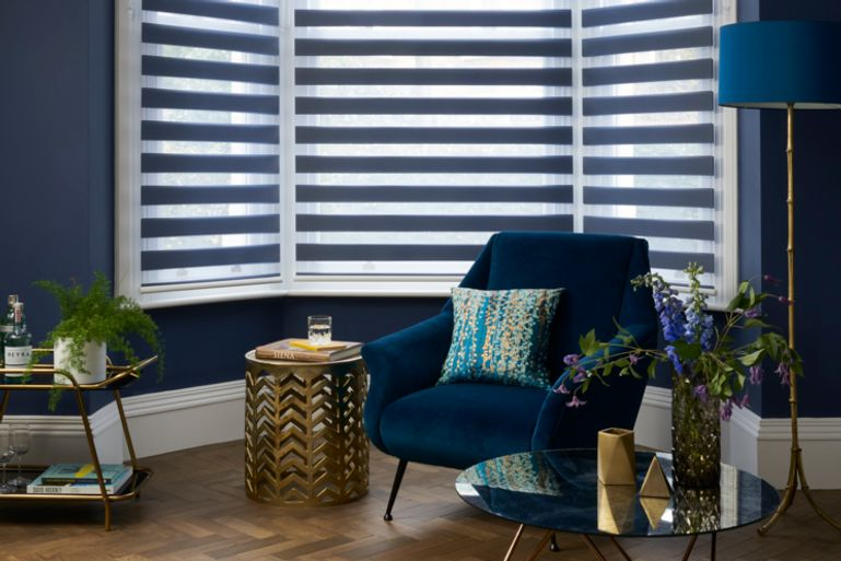 dark luxe living room decor with navy day and night blinds