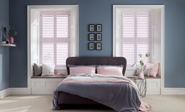 Chalk Pink Shutters in bedroom