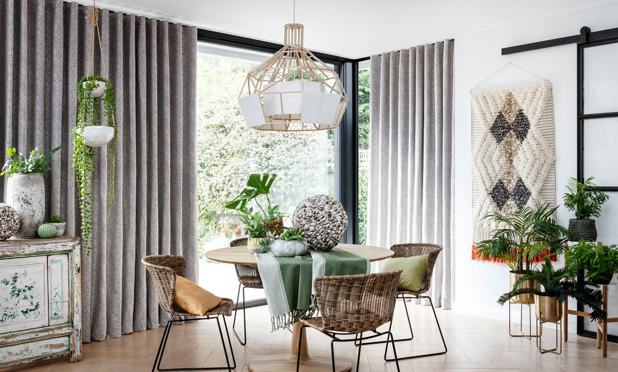 Echo Zinc eyelet curtains in dining room