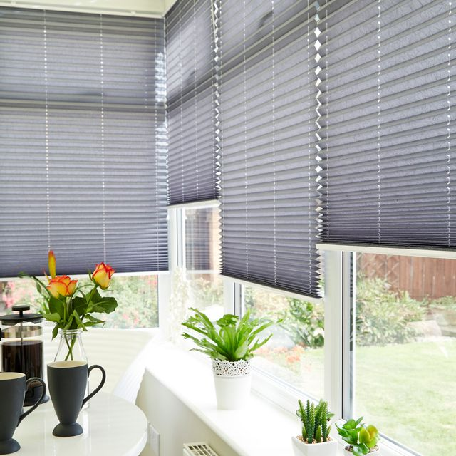Crush Charcoal Pleated blind in conservatory