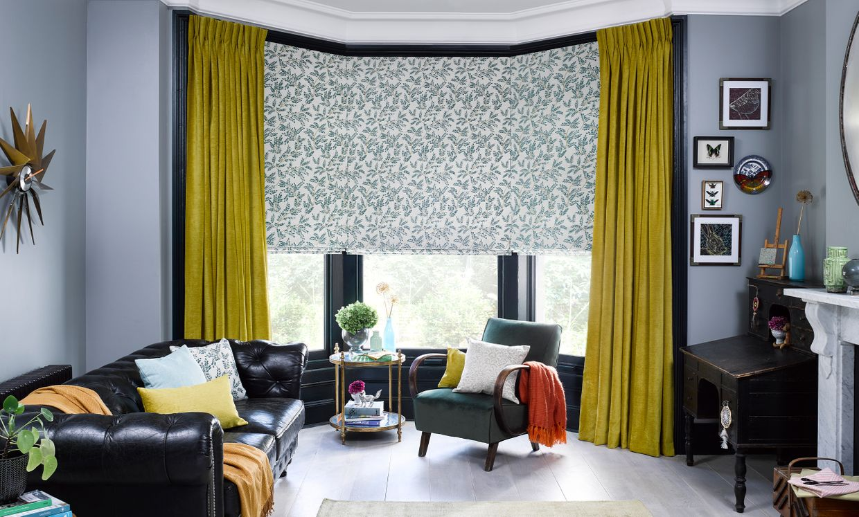 Lyon Sulphur Curtains with Dezia Teal Roller blinds in living room