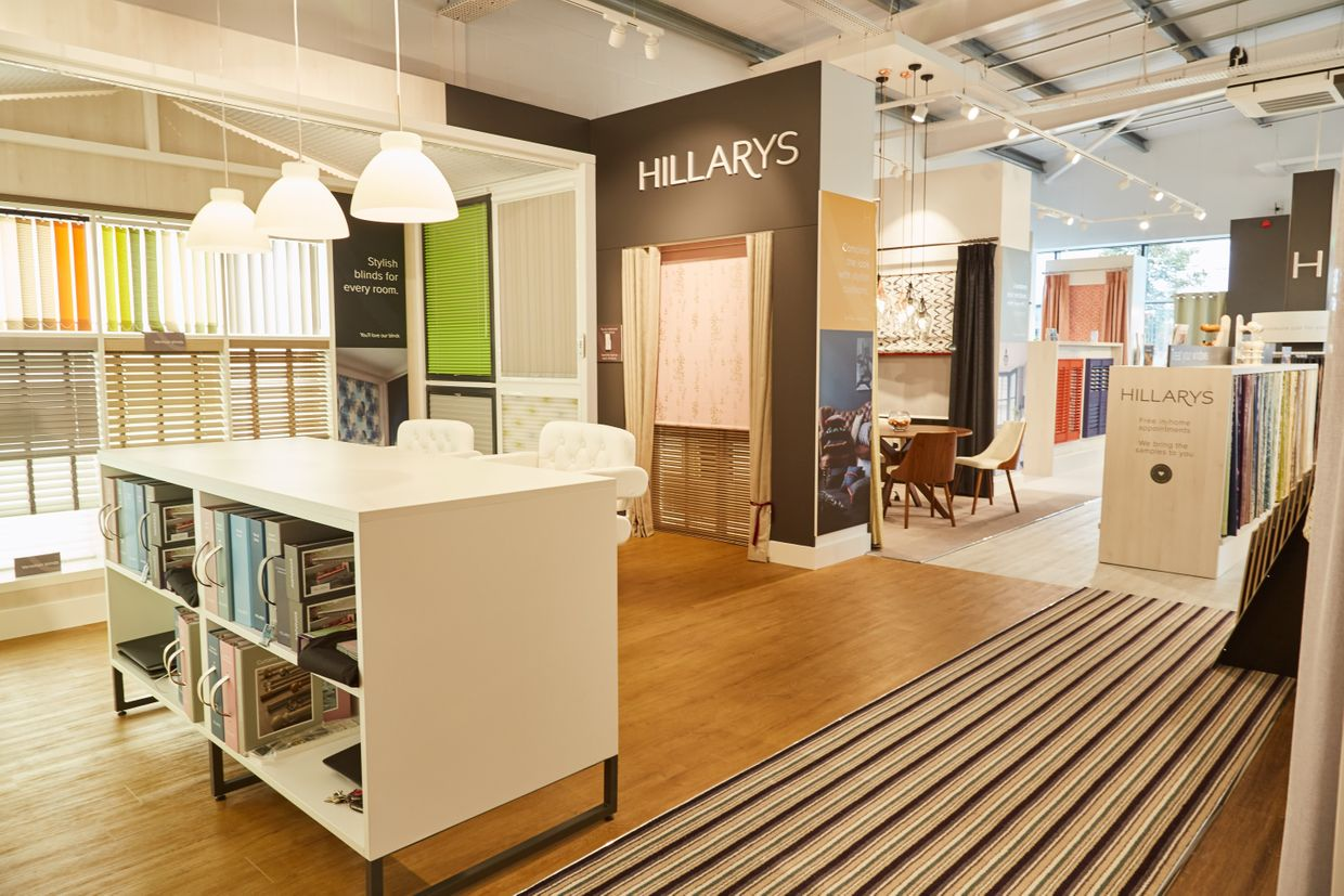 blinds, curtains and shutters on display at the Hillarys Cheltenham showroom