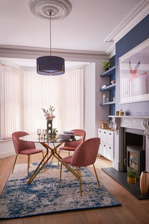 Vesper Light Pink Vertical blind in dining room