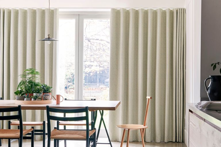 Simple Dining Room with Wave Curtains in Echo Mist Fabric