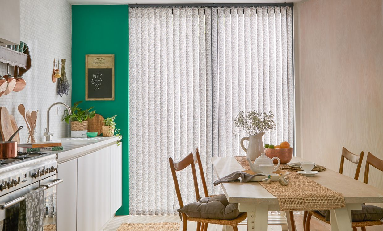 Harriet Mink Vertical blind in dining room