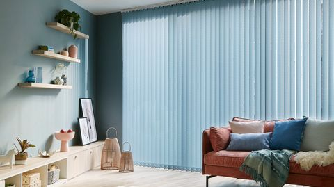 Fletcher Blue Vertical blind in living room