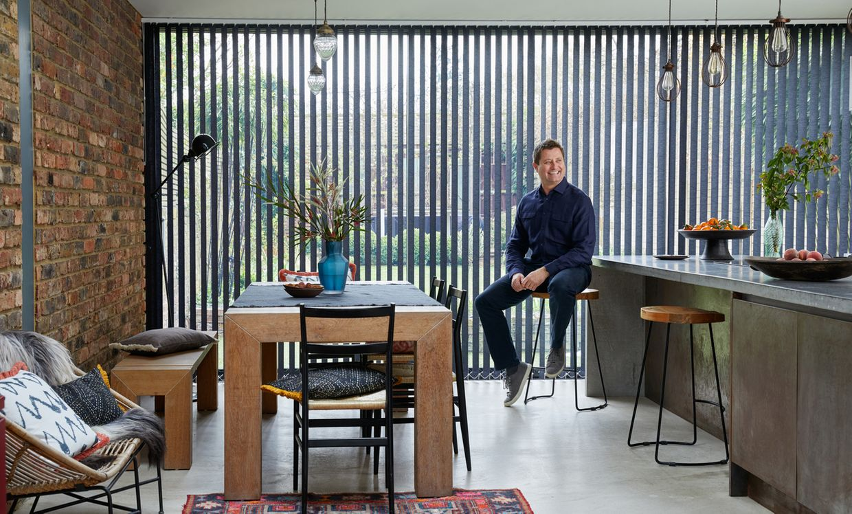 George Clarke in front of Norfolk Charcoal Verticals